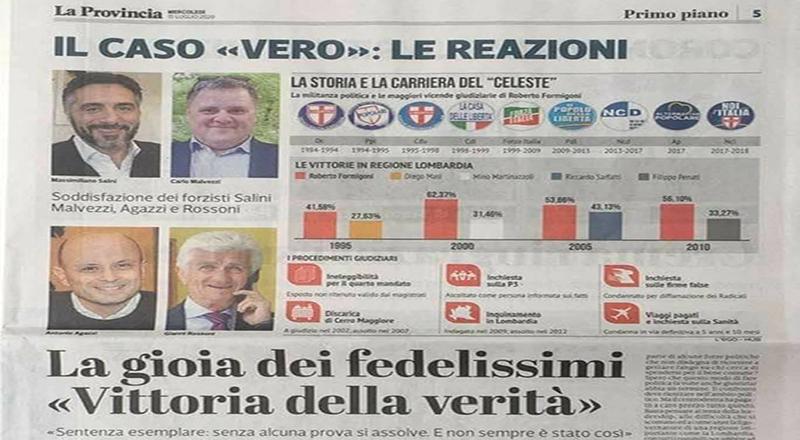 Da 'La Provincia di Cremona e Crema' dello scorso mercoledì 15 luglio: Antonio Agazzi sul Formigoni assolto a Cremona