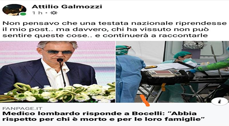 Al Bocelli offeso, replica il medico cremasco Galmozzi e Fanpage risponde