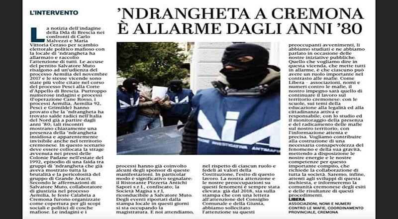Il Presidio Libera del Cremasco: abbiamo il dovere di informarci per respingere la 'Ndrangheta radicata in provincia