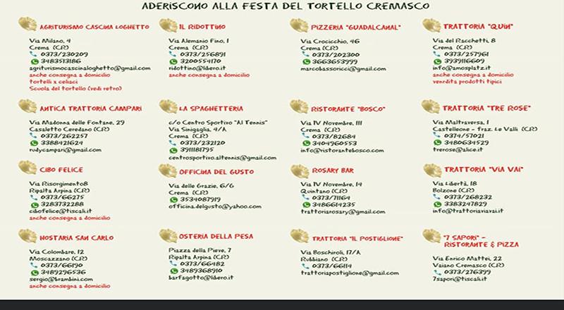 Ecco i locali di Crema e del Cremasco che caratterizzeranno la speciale, itinerante Festa del Tortello 2020.