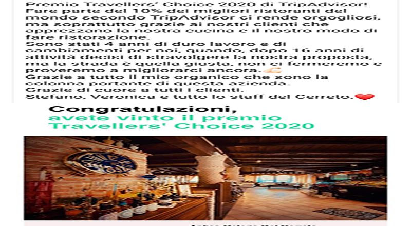 L'Antica Osteria del Cerreto, Chapeau, è Premio Travellers Choice 2020 TripAvisor. E' in cantina ha pure i vini Cantina Caleffi