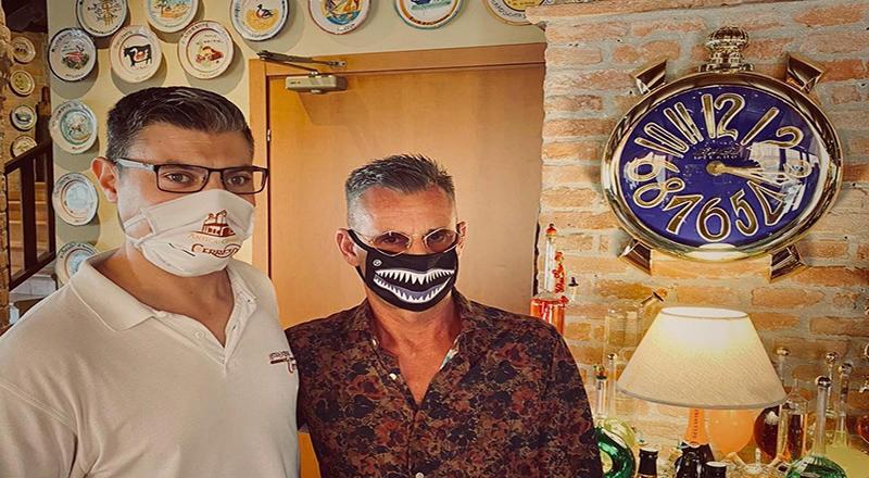 Ruben Tomella, fondatore del brand Gagà Milano a pranzo all'Antica Osteria del Cerreto di Stefano Scolari
