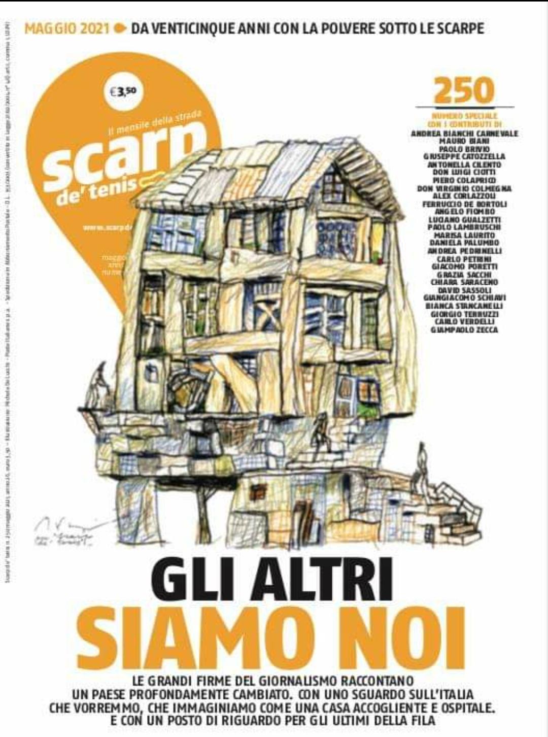 """Il Maestro d'Italia, giornalista, scrittore, viaggiatore e opinionista Alex Corlazzoli posta i suoi auguri per il bel giornale """"Scarp de'tenis"""""""