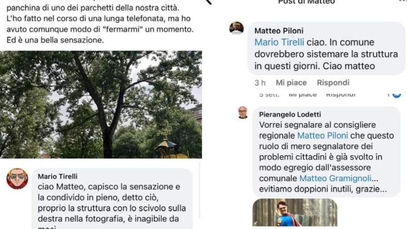 Il consigliere regionale Dem Matteo Piloni scopre la pace dei parchi pubblici. Ma arrivano le lamentele via social. E quel Mastino di Antonio Agazzi posta tutto