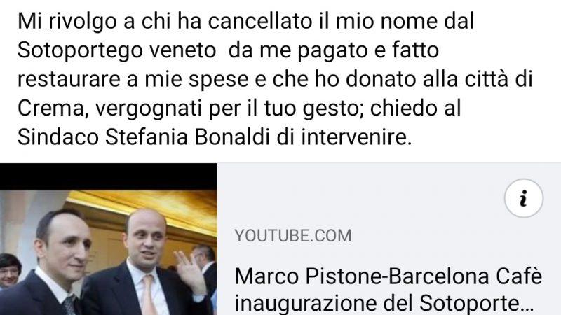 """L'Artista del bancone Marco Pistone si rivolge, via social, alla sindachessa Stefania Bonaldi: """"Cancellato il mio nome dall'elenco dei restauratori del Sotoportego"""""""