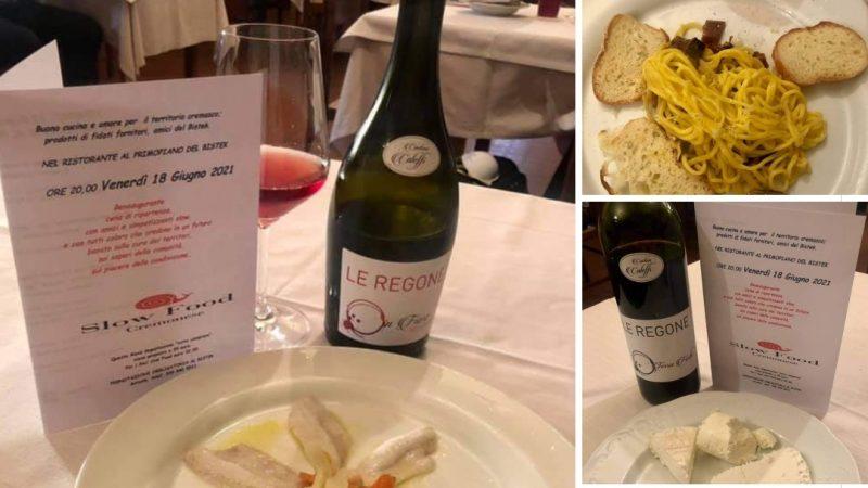 """Cantina Caleffi, col Lambrusco In Fiore e il Rosso Ancellotta, beh ha acceso la """"Cena della Ripartenza"""" (Slow Food) al Bistek di Trescore Cremasco"""