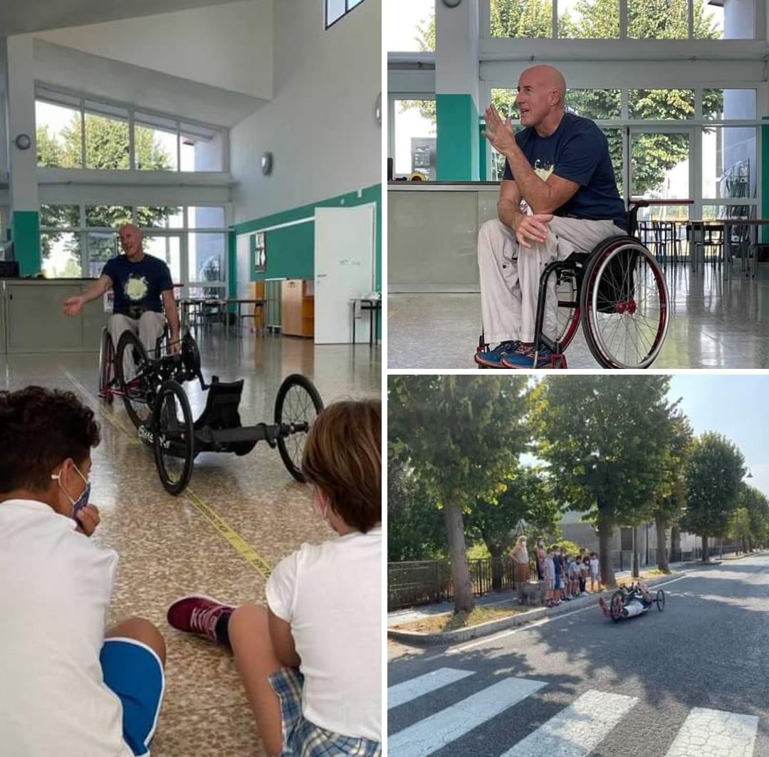 L'atleta Paraolimpico Giordano Tomasoni ha inaugurato l'anno scolastico a Salvirola