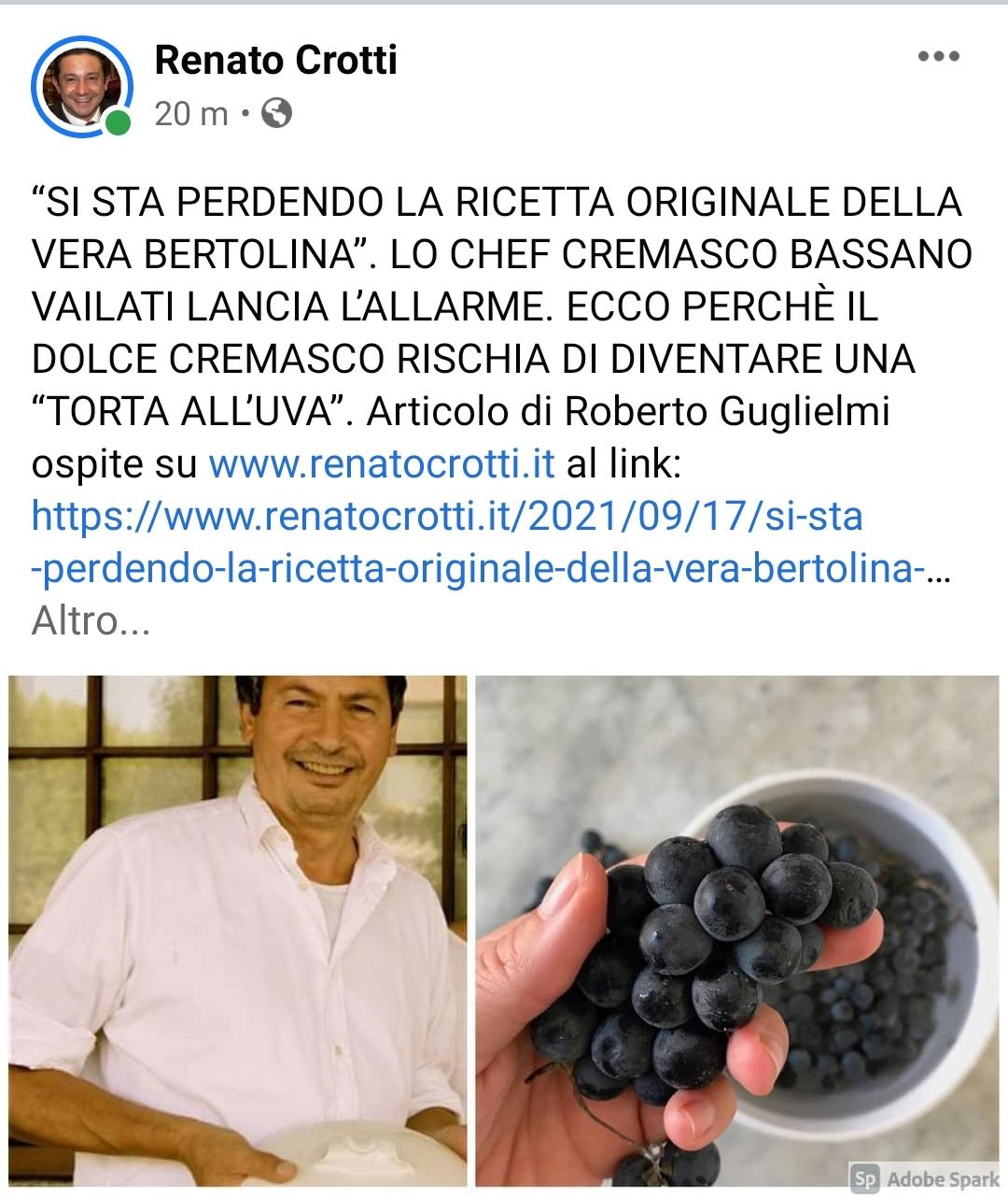 Dal Blog di Renato Crotti, chef Bassano Vailati, colui il quale ha comprato la sedia del film di Chiamami col tuo nome lancia l'appello per salvare l'originalità della Torta Bertolina