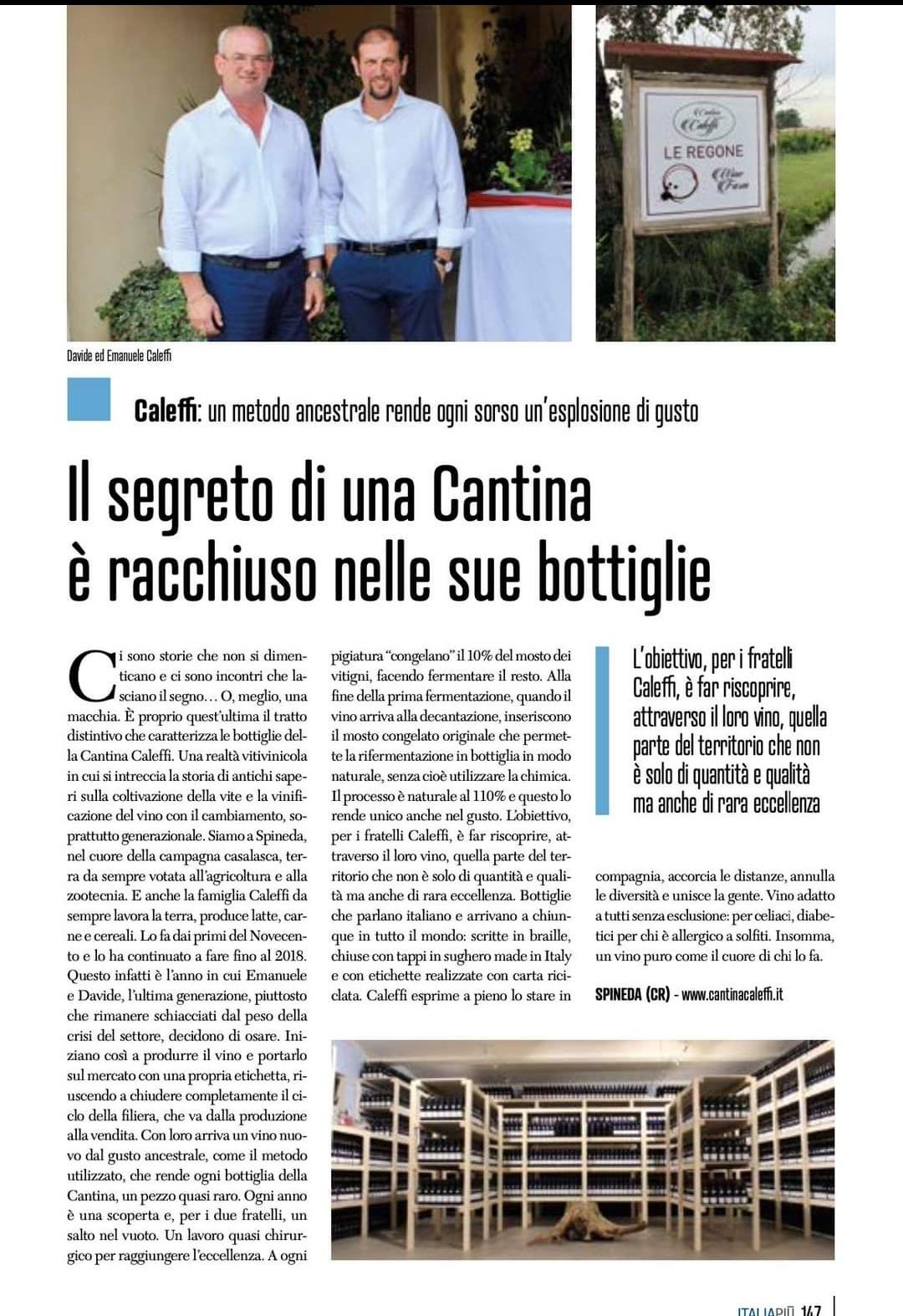La Premiata e Premiante Cantina, cremonese di Spineda, Caleffi, meritatamente è finita sulle pagine di Italia Più